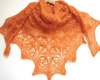 Mandarin -  hand knitted shawl mohair