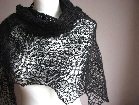 BlaCk SwAn - hand knitted shawl cashmere