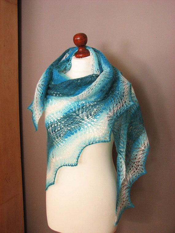 Blue Sky hand knitted shawl
