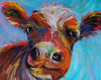 Whimsical Cow Giclee on Canvas for your Valentine!