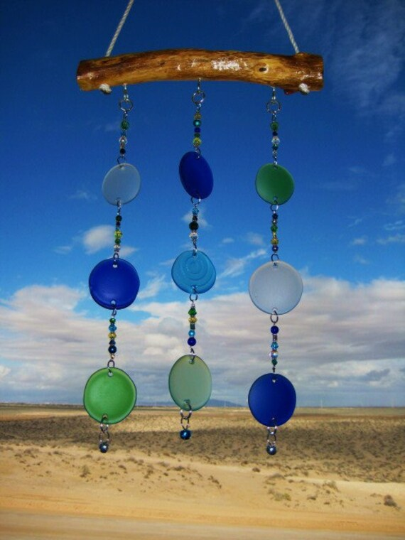 Sea Glass Bottle Bottoms Windchime / Mobile with Glass Beads and Bells