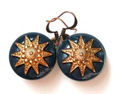 Navy Blue Earrings Vintage Button Earrings Nautical Atlas Copper Star True North