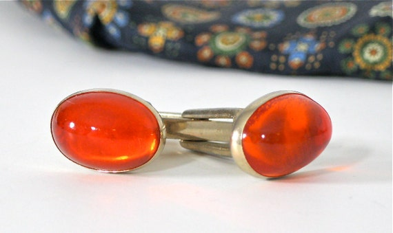 Vintage Cufflinks Goldtone with Oval Orange Glass Cabochon Vintage Gentlemen
