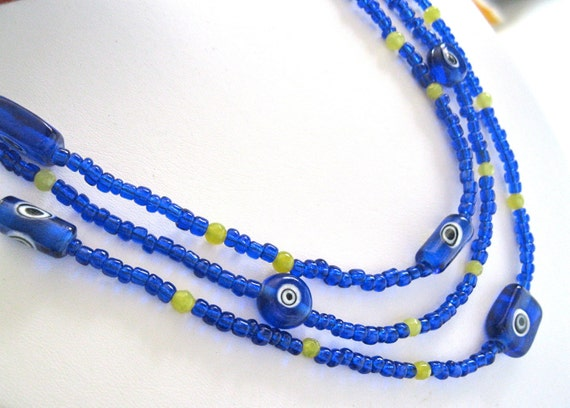 Cobalt Blue Necklace  Multi-Strand Hand Beaded Glass Jewelry Yellow Jade and Sterling Silver