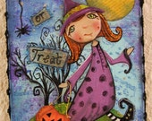 Halloween Witch,Trick or Treat, Mixed Media Painting on Canvas