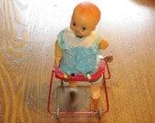 Vintage Toy Japan Doll Old Retro Kewpie Style Wind Up Doll She Walks In Her Walker