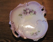 Vintage Plate Pretty Purple Decorative Dish 1940s Prairie Shabby Chic Country Victorian