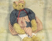 Vintage Bear Patriotic Collectible Bear OOAK Handmade Teddy Bear-Country Rustic Farm House