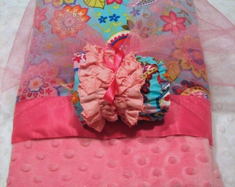 Minky Blanket and Ruffled Diaper Cover