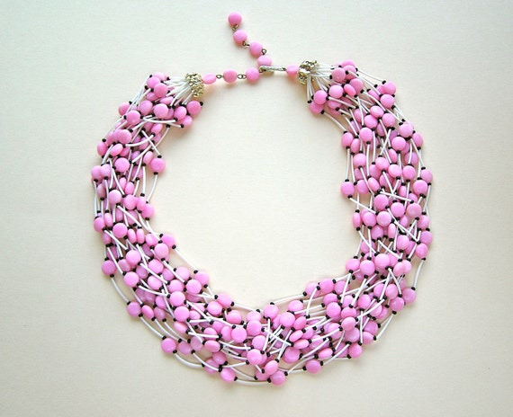 Vintage Beaded Multi Strand Necklace - Pink Black and White Hong Kong 1960's