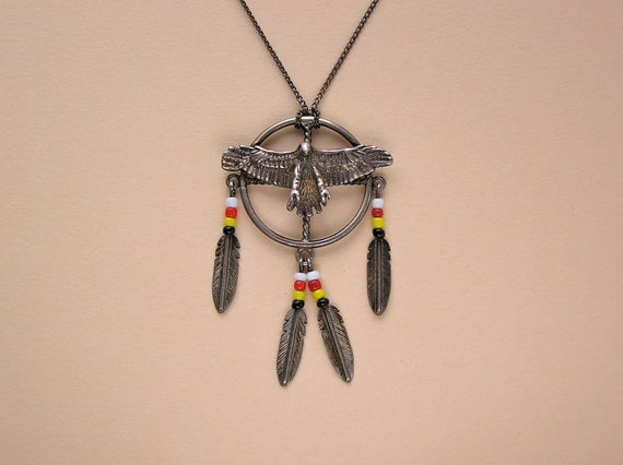 Vintage Sterling Native American Style Eagle and Feather Necklace