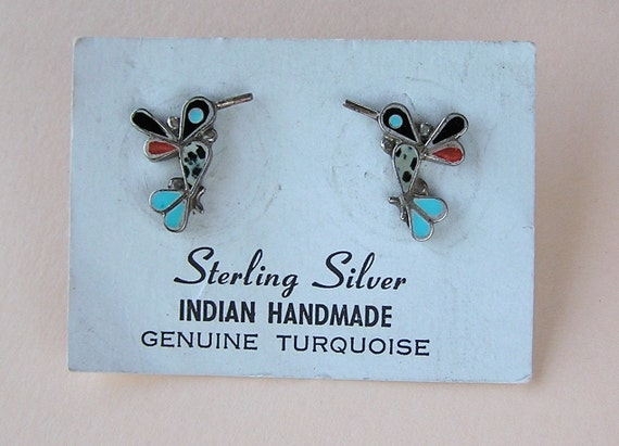 Vintage Zuni Sterling Inlaid Semi Precious Hummingbird Earrings