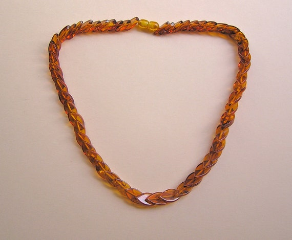 Vintage Genuine Amber Necklace - Overlapping Marquise Shaped Beads OOAK