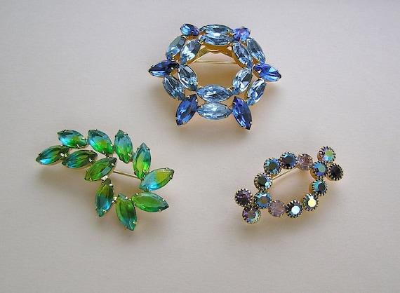 Vintage Jeweled and Rhinestone Brooch Trio