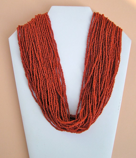 Vintage Multi Strand Coral Seed Bead Necklace