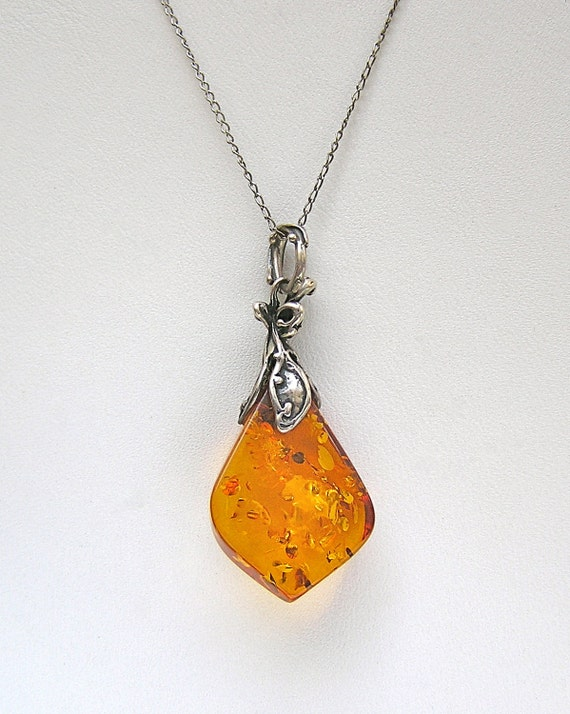 Vintage Amber and Sterling Art Nouveau Style Pendant