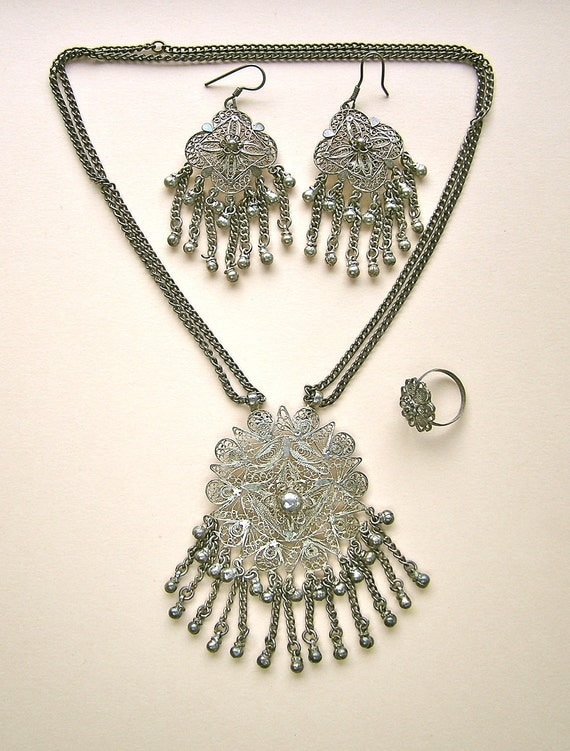 Vintage Sterling Filigree Earrings, Necklace and Ring Set - Spectacular Demi Parure