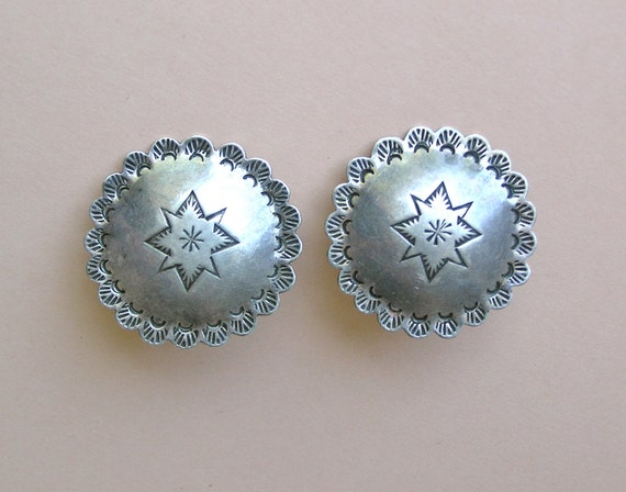 Vintage Sterling Native American Concho Post Earrings - Large and Lovely - Signed
