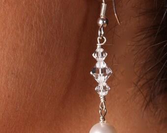 Swarovski Crystal and Pearl Bridal Earrings, The Brooke