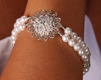 Emma, Swarovski Crystal and Pearl Filagree Pendant Double Strand Bridal Bracelet