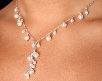 Cascading Swarovski Pearl Bridal Bridesmaid Drop Necklace, The Mia
