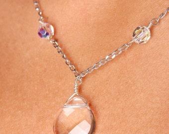 Swarovski Crystal Bridal Bridesmaid Y Drop Briolette Pendant Necklace, The Brenna