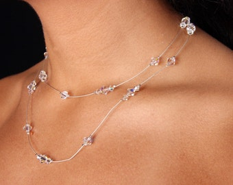Double Illusion Swarovski Crystal Aurora Borealis AB Bridal Necklace