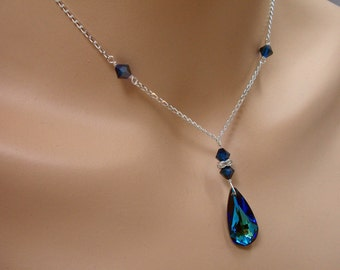Something Blue Swarovski Crystal Bridal Bridesmaid Y Drop Pear Pendant Necklace