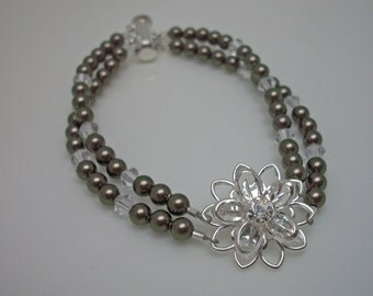 Brown Double Strand Swarovski Pearl and Swarovski Crystal Daisy Bridal Bracelet, The Isabella