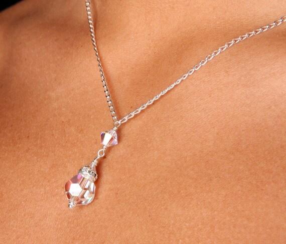 Swarovski Crystal Bridal Bridesmaid Y Drop Pendant Necklace