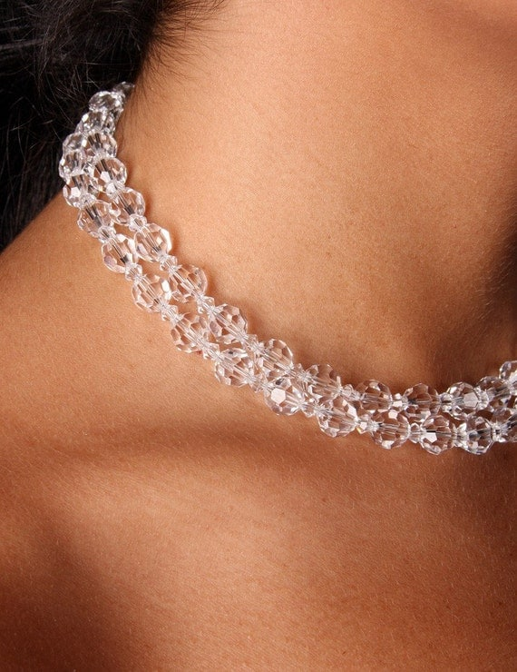 Swarovski Crystal Double Strand Bridal Choker Necklace, The Nora