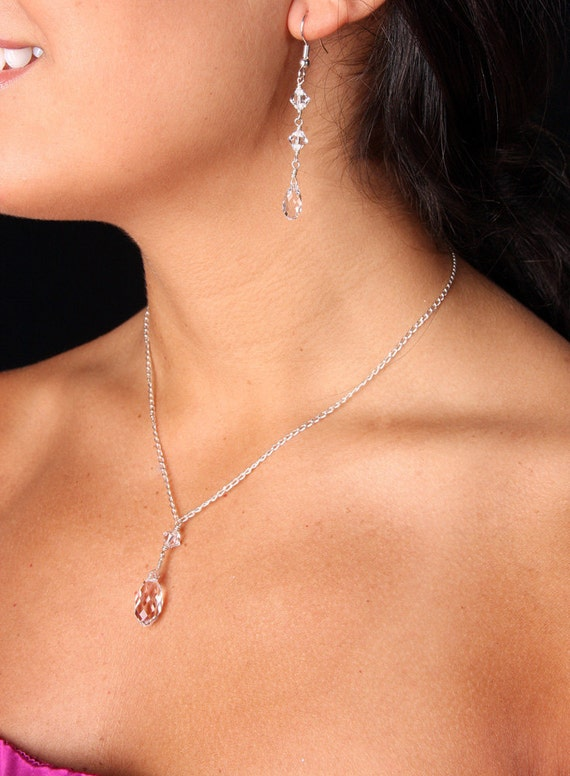Bridesmaid Set Swarovski Crystal Bridal Y Drop Teardrop Pendant Necklace Earrings, Jessica