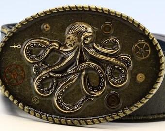 Antique Brass Belt Buckle - Vintage Watch Parts - Steampunk