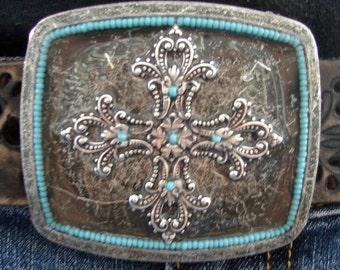 Maltese Cross - Antique Silver - Turquoise Beaded Border - Belt Buckle