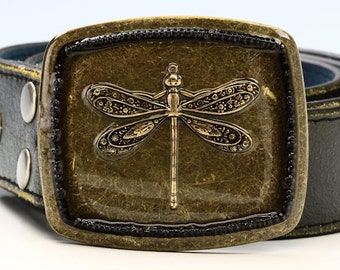 Dragonfly Antique Brass Belt Buckle - Snap On Buckle -Black Seed Bead Border