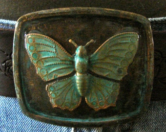 Patina Butterfly Belt Buckle Square