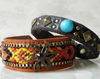 Bohemian Black Leather Stackable Leather Cuff Bracelet with Turquoise Stone & Antique Brass Grommets