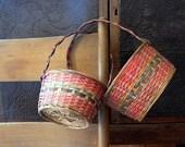 2 Vintage Easter Baskets / Woven Baskets / Cottage Farmhouse Home Decor