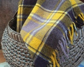 Vintage Wool Blanket Yellow and Brown Faribo 1960s Plaid Picnic Camp Stadium Blanket