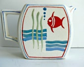 Vintage Fish Pitcher - Deco Ceramic - Hand Painted