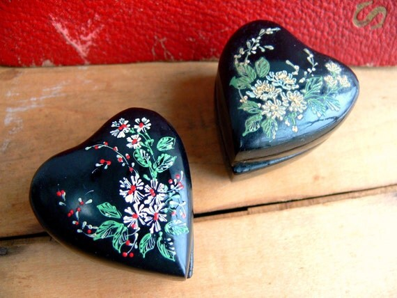 Vintage Ring Boxes -  Set of Two Hand Painted Black Lacquer Heart Boxes - Wedding His & Hers