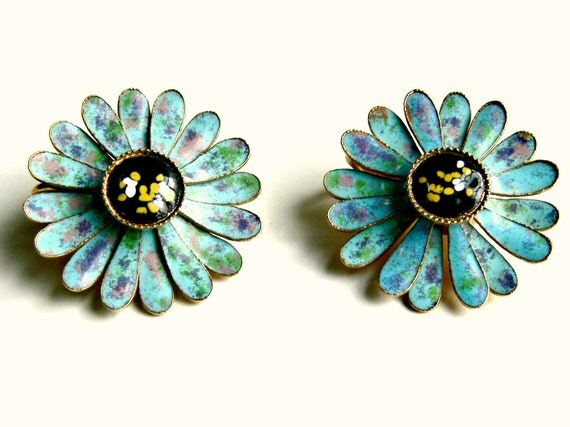 Blue Enamel Earrings - Aqua Blue & Black Vintage Clip-On Earrings - Mid Century Floral