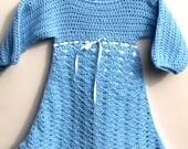 crochet girl's dress lined skirt in blue