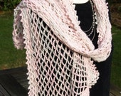 Crocheted party wrap, shawl, delicate, silk, cashmere, alpaca in pink, grey, hand painted