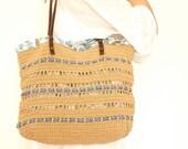 Beige summer bag- Handbag Celebrity Style With Genuine Leather Straps / Handles shoulder bag-crochet bag-hand made