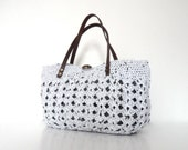 white summer bag- Handbag Celebrity Style With Genuine Leather Straps / Handles shoulder bag-crochet bag-hand made