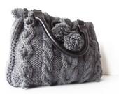 gray  Handbag - Shoulder bag -knit bag  with  leather strap hand made knited knit