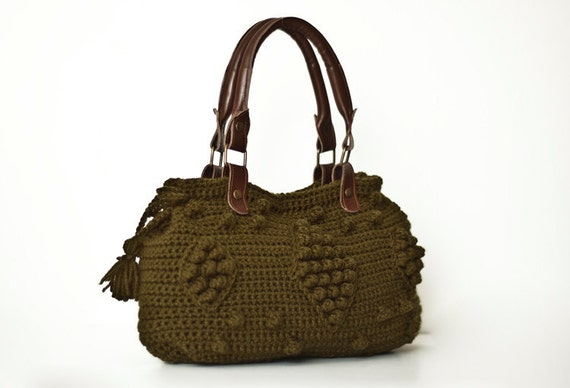 Khaki Green Shoulder Bag Celebrity Style With Genuine Leather Straps / Handles MORE COLOR OPTIONS