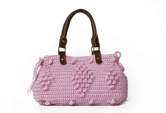 BAG // Pink Celebrity Style HandBag With Genuine Leather Handles - crocheted shoulder bag