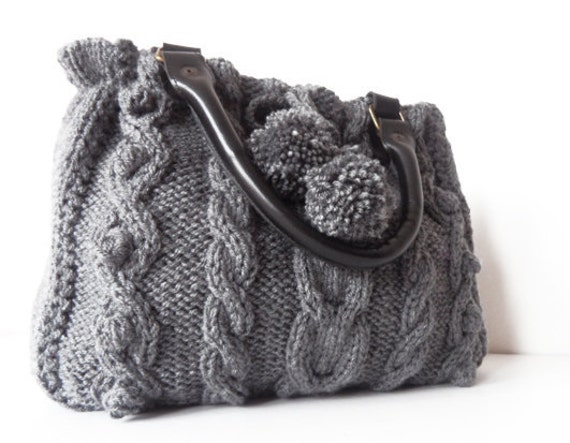 gray  Handbag - Shoulder bag -knit bag  with  leather strap hand made knited knit